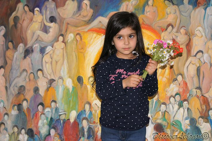 Little Lebanese girl visiting the art studio of artist-painter and poet Joseph Matar