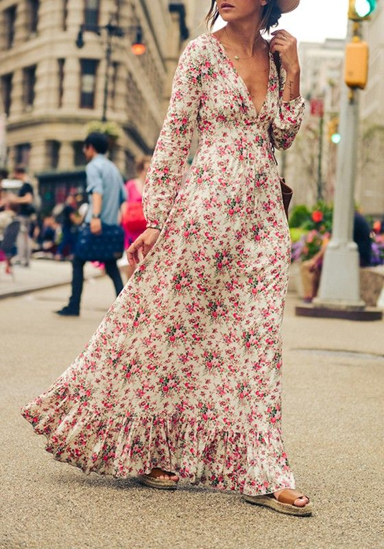 Multicolor Bohemian Floral Print Ruffle Deep V-neck Floor Length Boho Maxi Dress