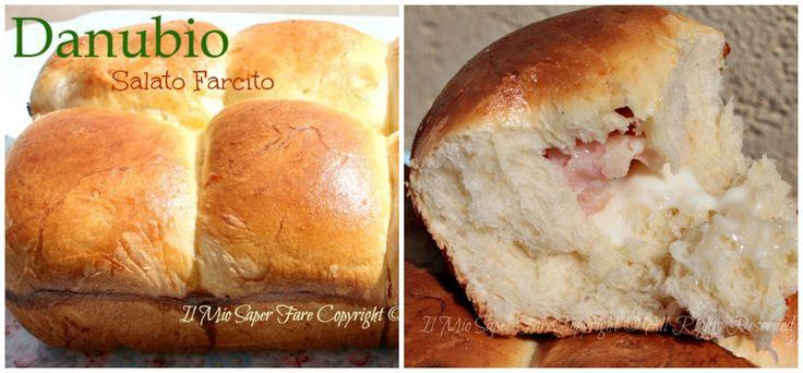 Danubio salato farcito soffice soffice:un lievitato realizzato con pasta pan brioche molto morbida.Tante palline farcite da staccare e gustare.Facile, buono