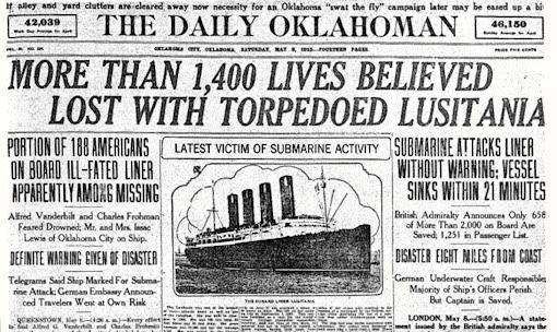 Headline about the Lusitania - The Lusitania was a British ship ...