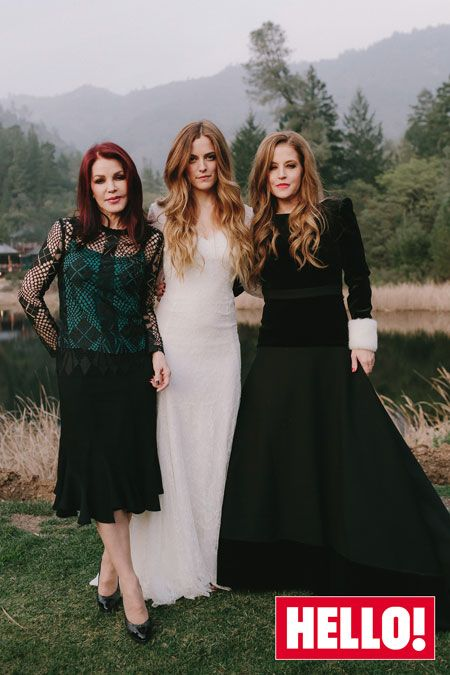 Riley Keough, Elvis Presley's granddaughter, the beautiful bride -- who looked stunning next to her mom Lisa Marie Presley, and her grandmother Priscilla Presley -- in a Delphine Manivet long-sleeved French lace gown featuring vintage-style buttons and an open back.
