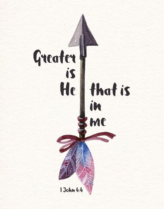 $5.00 Bible Verse Print - Greater is He that is in me 1 John 4:4 We can do great things because He lives in us. He goes before us and fights our battles. What we think we can't do, we can! This is because He dwells in our hearts by faith. He is stro