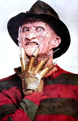 Freddy Krueger  As Played By: Robert Englund in A Nightmare On Elm Street (1984) and its numerous sequels.    Unquestionably the most charismatic killer in horror movie history, Freddy's high-concept brand of terror is even more horrifying when he's playing it straight. We're thinking when he simply drags his victims up the walls rather than killing them in videogame form.