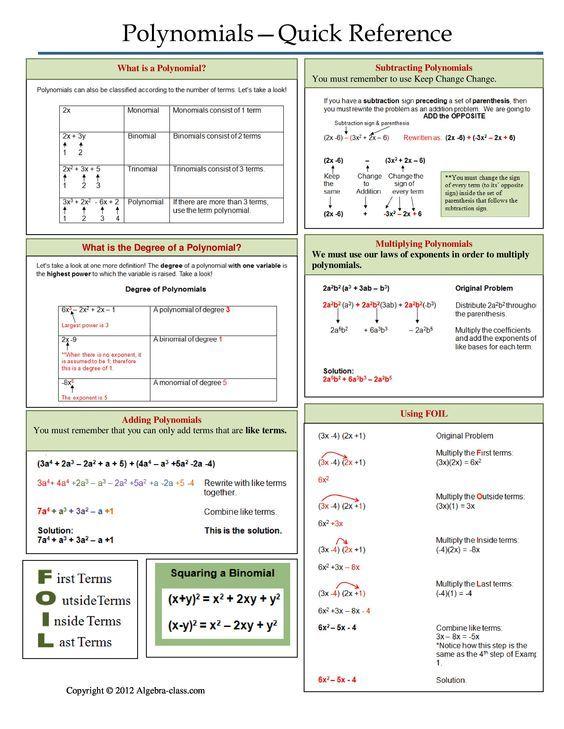 20 best Polynomials images on Pinterest High school maths, Math