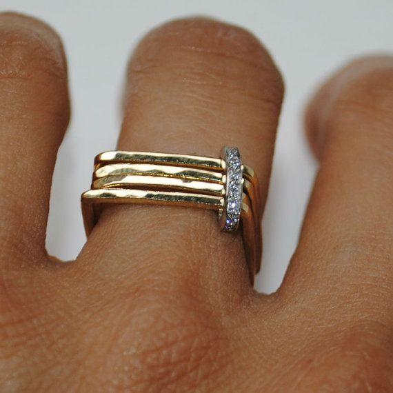 Diamond Pavé Set Multi Band Square Shape Engagement Ring – 18K Yellow and White Gold