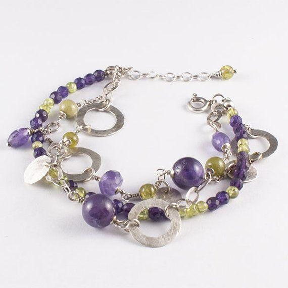 Amethyst olivine peridot bracelet sterling by SylviaArtGallery, $110.00