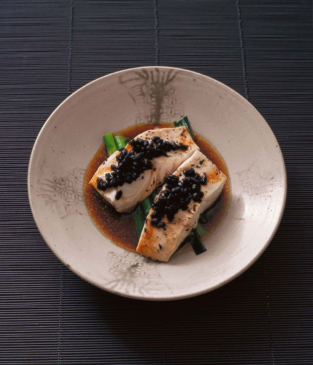 Australian Gourmet Traveller Chinese banquet recipe for Neil Perry's steamed blue-eye with black beans.