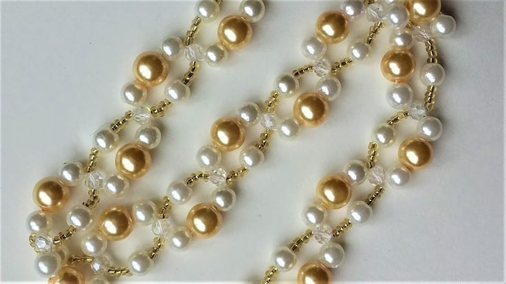 DIY Pearl Bracelet (Necklace). Easy beading pattern for beginners