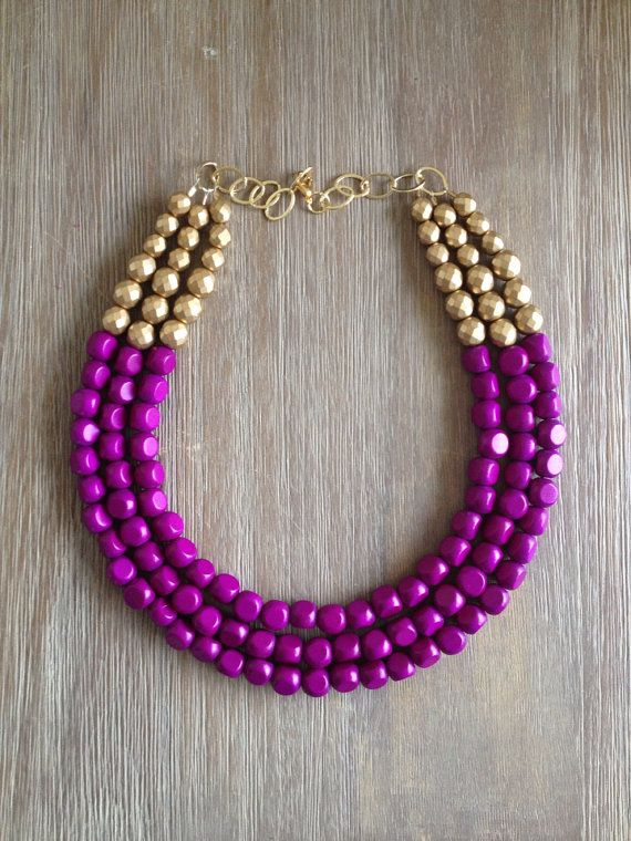 Radiant Orchid and Gold Statement Necklace by icravejewels on Etsy, $58.00