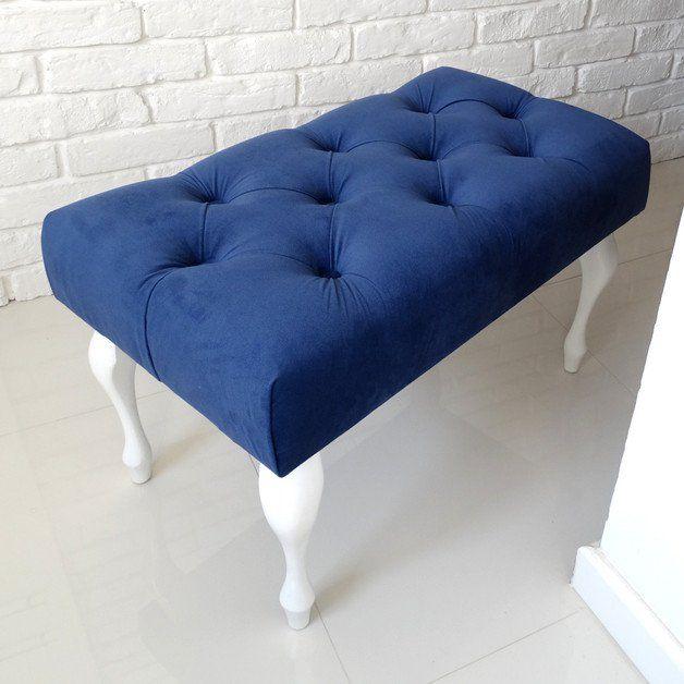 Pikowana ławeczka pufa ławka tapicerowana KOBALT - HouseBerry - Ławki