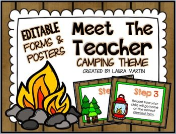 Meet the Teacher - Camping Theme -Make Back to School or Open House easier with these EDITABLE Meet the Teacher CAMPING THEME forms and posters.I created these Meet the Teacher forms and posters to minimize the chaos of Back to School! You will find them easy to edit to fit your own needs.