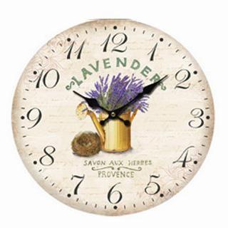 Nástěnné hodiny  s levandulí v kropence