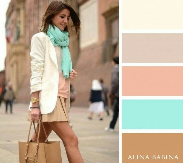 Nice muted neutral colour pallette for a soft spring wardrobe inspiration. I reslly like the colour combination turquoise with rose pink together. Use any one of the other colours as a base for pants, skirt, blazer or chunky knit items like a scarf or cardigan and of course mix it up with pretty floral prints, lace, frills, whimsical