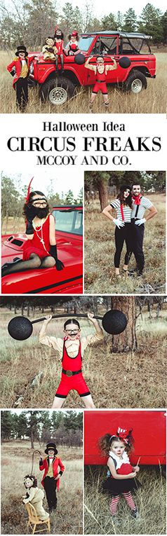 Circus Freaks and Performers Group Costume Idea | Halloween Costumes DIY Ideas | Strongman | Clown | Bearded Lady | Easy Mime Tutorial | Funny Kids Costumes | Ringmaster | Lion and Lion Tamer | Vintage Ford Bronco