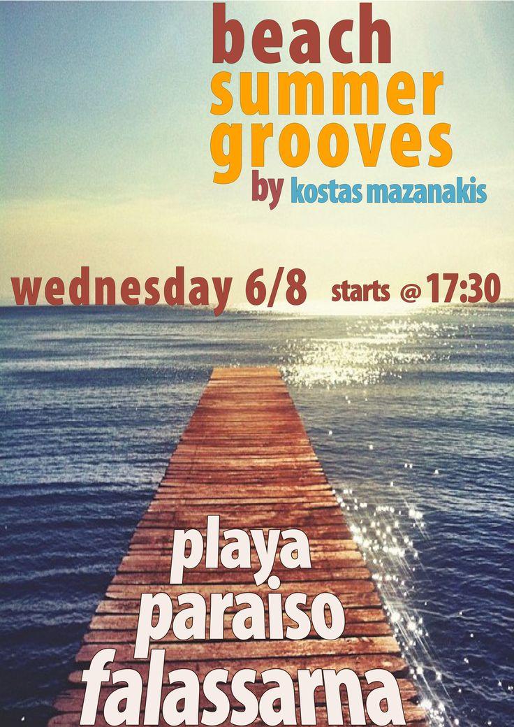 dj-ing at Playa Paraiso beach bar - falassarna