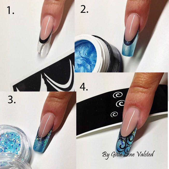 Gele Negle design med Negle Glimmer og Uv Gele, en step by step i uv gele nail art, her er brugt en blå pearl gele og franske nail art sticker. Det er en herlig hobby at lave kunstige negle og nail art, man slapper af og samtidigt får man super nice nail art negle. Du kan se flere step by step negle i vores negle galleri på facebook. Produkter fra Nail4you.dk