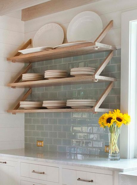 open shelving + tile | Dearborn Builders | Tory Haynes Interiors