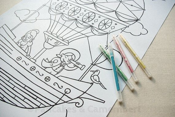 Coloring poster - Travel in air balloon A2 by Pancakes & Camembert.