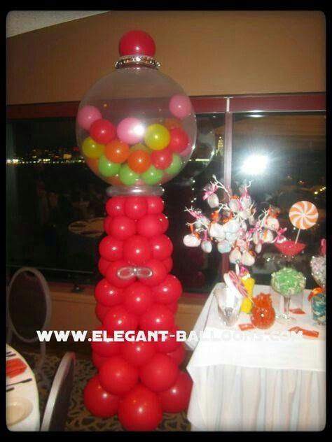 Balloon bubblegum machine party decor pinterest balloons for Balloon decoration machine