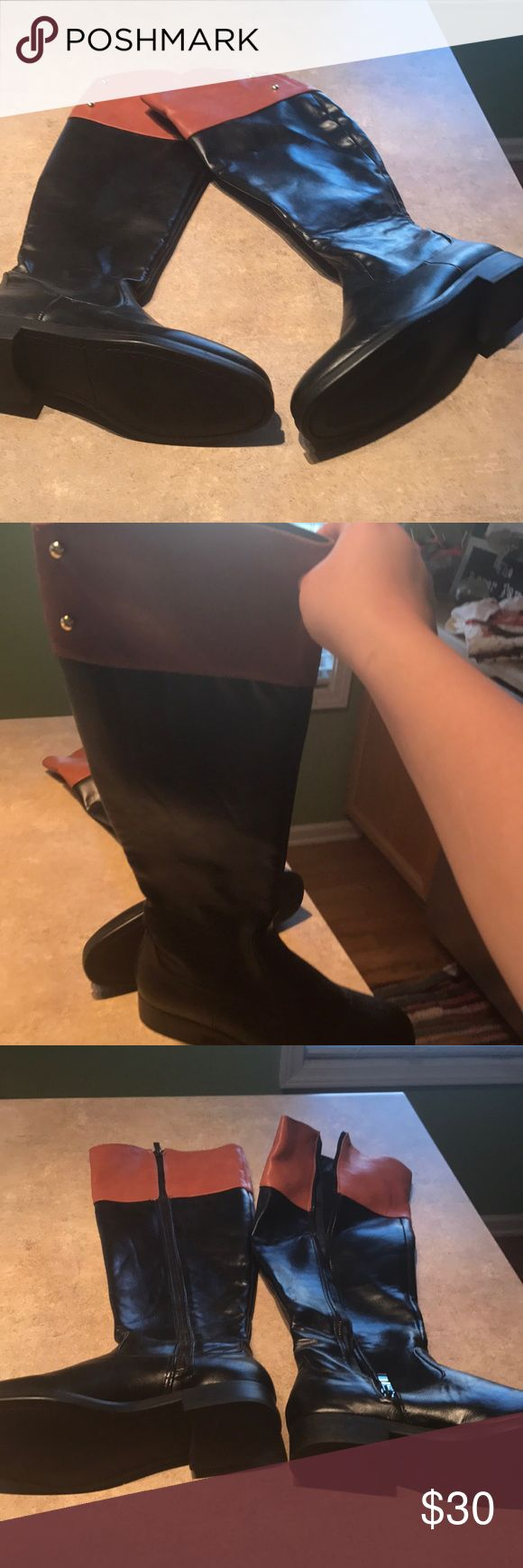 Black and Tan boots, never worn! These Black and Tan boots are adorable and never worn!  They are perfect for any equestrian or lover of boots in general!  They zip up and are super adorable over leggings or skinny jeans. alexa Shoes Heeled Boots