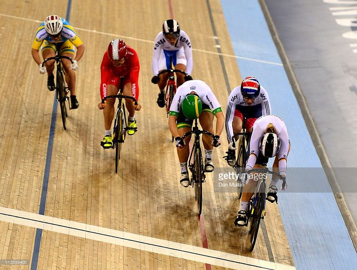 Kristina Vogel of Germany (R) in action on her way to winning the Women's Keirin final during Day Two of the UCI Track Cycling World Championships at Lee Valley Velopark Velodrome on March 3, 2016 in London, England. #TWC2016 #rm_112