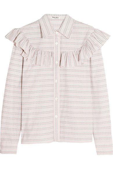 Miu Miu - Ruffle-trimmed Checked Cotton-poplin Shirt - Ivory - IT40