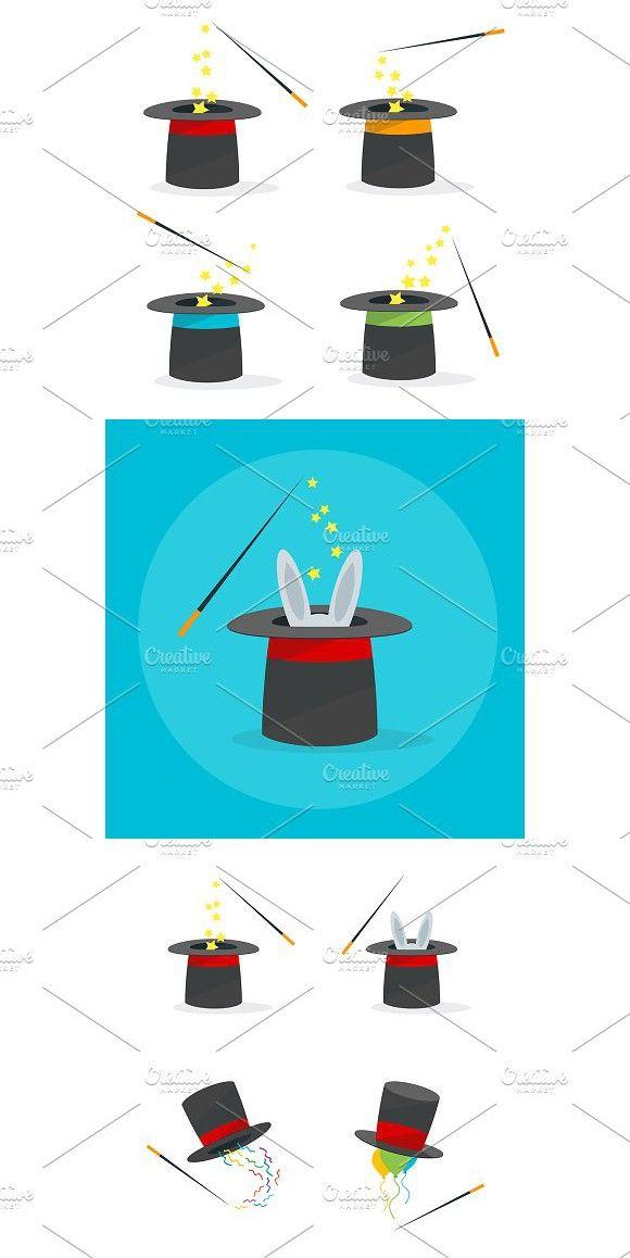 Magic Hat Set Vector Magic Hat Illustration Vector Illustration
