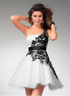 A-Line/Princess One-Shoulder Short/Mini Organza Satin Cocktail Dress With Lace Sash Beading