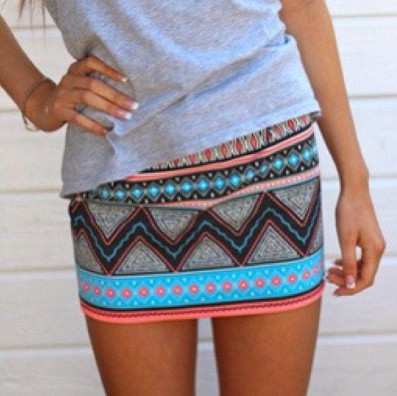 aztec skirt and plain gray tee