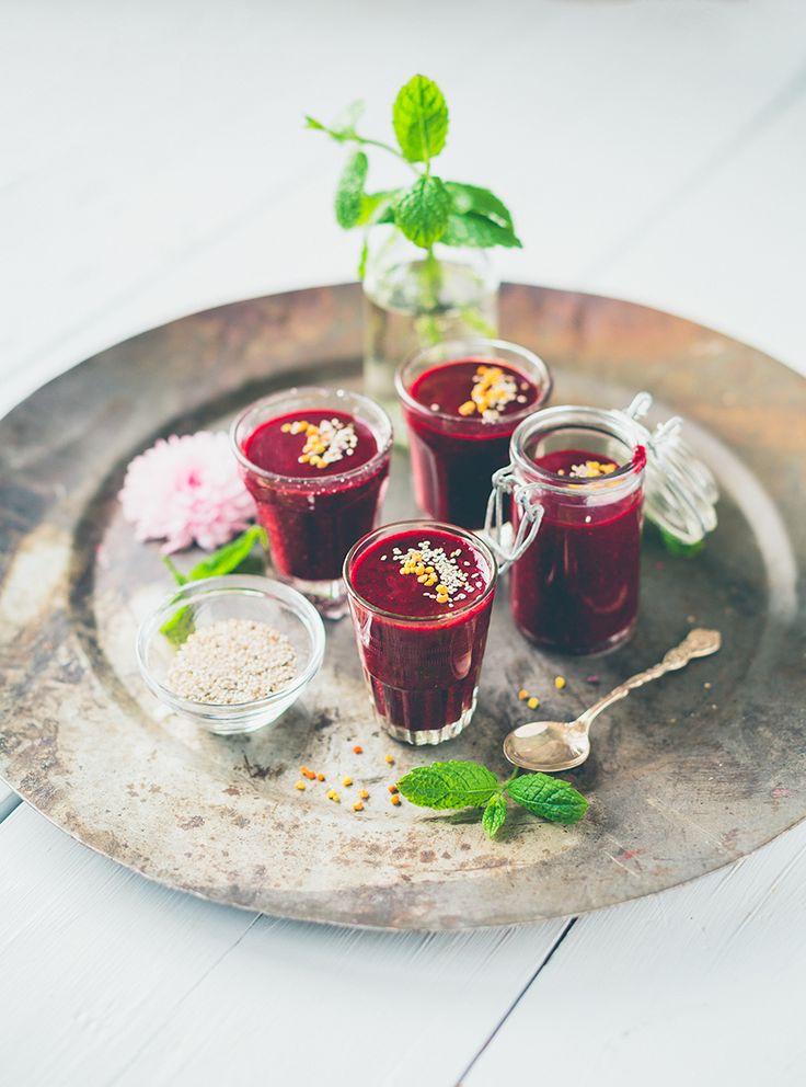 Vitaminshot med jordgubbar & blåbär