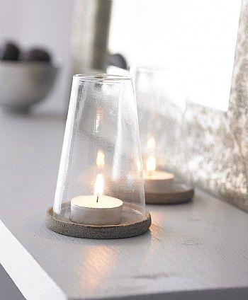 Stone And Glass Tealight Holder #perfectoutdoorliving I could imagine these candles spread spatially around the garden and in the evening they will bring the perfect ambiance and set a wonderful and relaxing mood