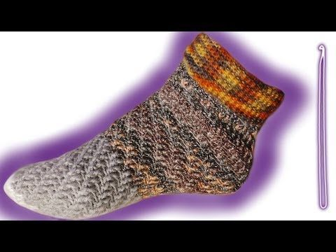▶ Wirbel-Socken ohne Ferse häkeln lernen - YouTube