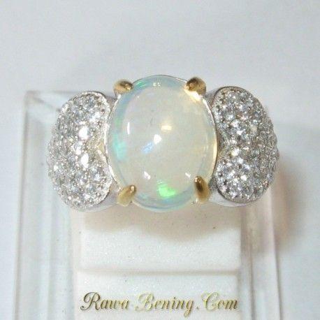 Cincin Wanita Ring 5US Opal Pelangi Afrika 1.80 carat