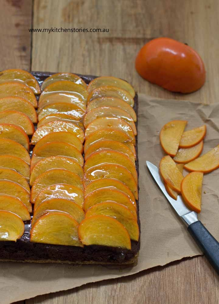 Chocolate mousse tart with easy pastry and delicious sliced persimmons