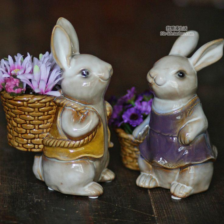 Керамические цветочные Корзины кролика домашнего декора ремесла украшения комнаты ремесло фарфоровые фигурки животных свадебные украшения купить на AliExpress