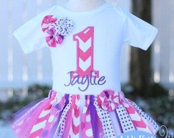 Chevron personalizado y lunares tela traje de cumpleaños Tutu - morado y rosa