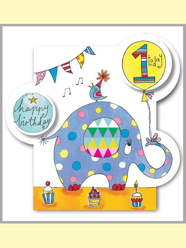 Rachel Ellen card - happy birthday - age 1 elephant