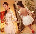 OMH moda roupas flores de renda manga longa patchwork gola Redonda Pure color Oco out sexy mulheres Mini Vestidos, FZ326