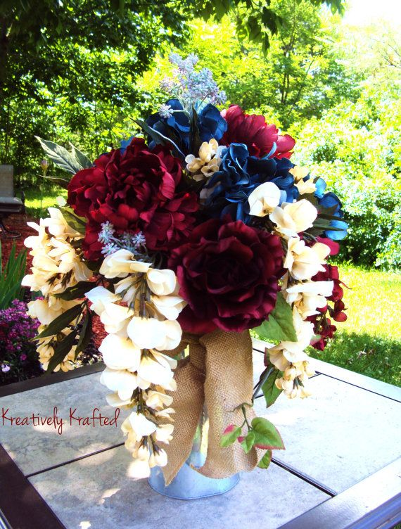 Elegant Floral Centerpiece Patriotic 4th of July by KreativelyKrafted on Etsy