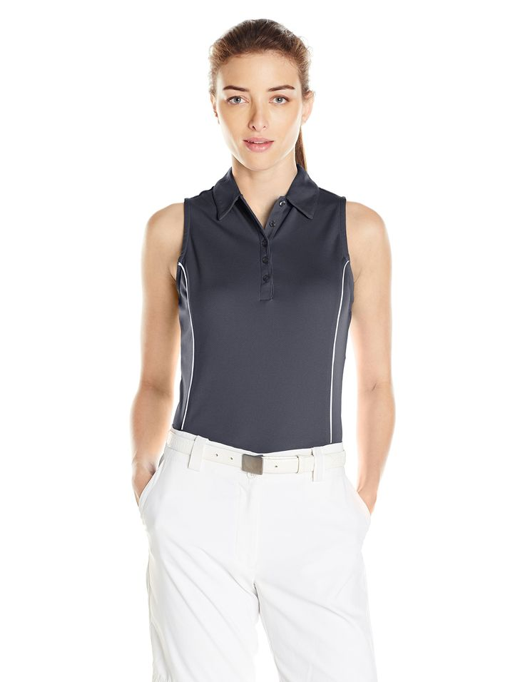 PGA TOUR Women's Golf Performance Sleeveless Airflux Polo Shirt, India Ink, XS. 100 percent polyester. Air flux: innovated ventilation for ultimate comfort. Drifter: moisture absorption and control for cooler, drier comfort. Easy care: machine washable, maintains its smoothness. Sun flux: protects your skin from the sun's harmful rays. Motion flux: innovative seams define range of motion.