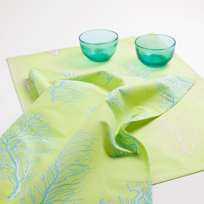 Coral tea towels with a lime background (set of 2) - KITCHEN TEXTILES - TABLEWARE | Zara Home United Kingdom