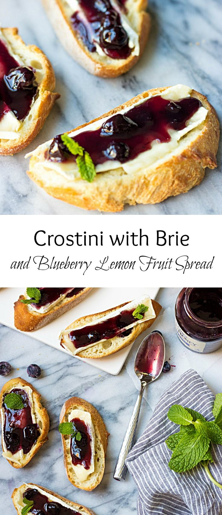 Delicious holiday appetizer made in under 10 minutes. These Crostini with Brie and Blueberry Lemon Fruit Spread are excellent party-starters. #EasyHolidayEats #ad