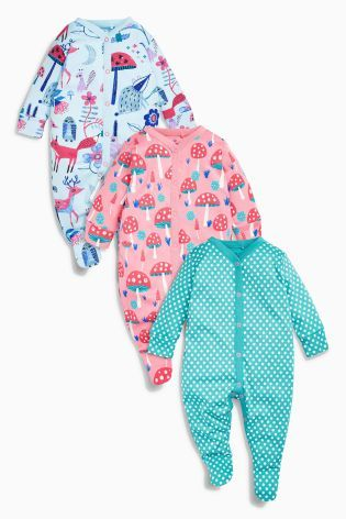b776abbfadaa Buy Pink Turquoise Woodland Sleepsuits Three Pack (0mths-2yrs) from ...