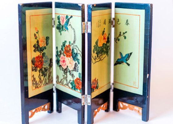 Vintage Asian Folding Table Screen  Black Lacquer Wood Frame