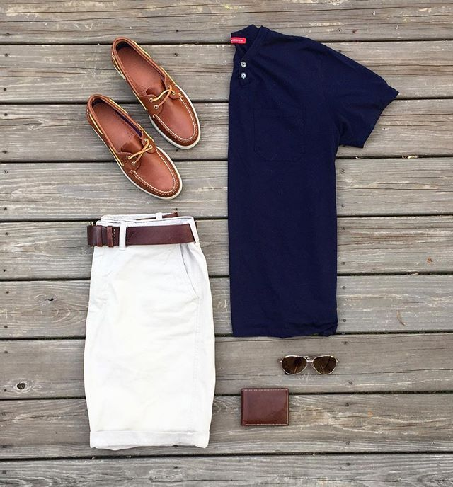 Outfit grid - Preppy summer look. I would switch the polo out for a v neck to make it more casual.