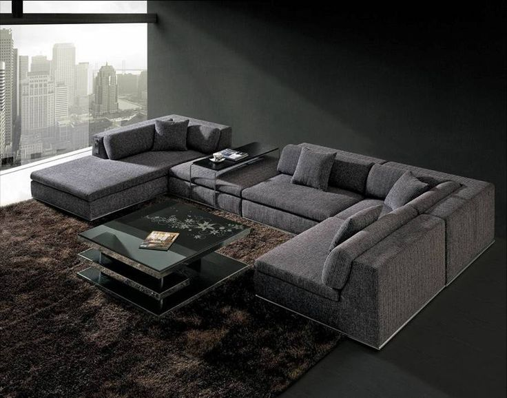 Lv 463 Is A Grey U Shaped Fabric Contemporary Sectional Sofa