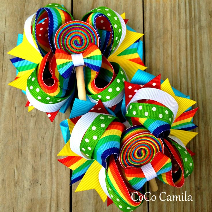 Rainbow Hair Bow Clip Girl HairBow Set of TWO by cococamila, $18.00