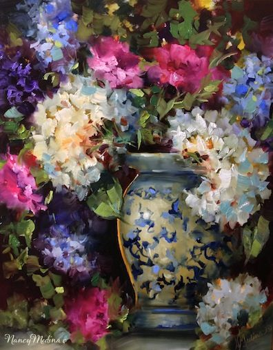 Artists Of Texas Contemporary Paintings and Art - Hydrangeas and Pink Carnations by Floral Artist Nancy Medina