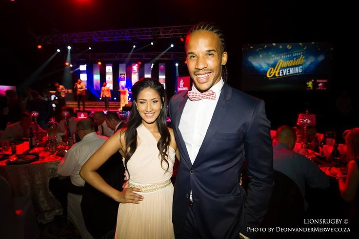 Courtnall Skosan and his beautiful wife, Semone attending the Lions Rugby Group Awards Function.  #LeyaTheLion #Liontainment #Lions4Life #BeThere #MyLionsMoment #LionsAwardsNight2017
