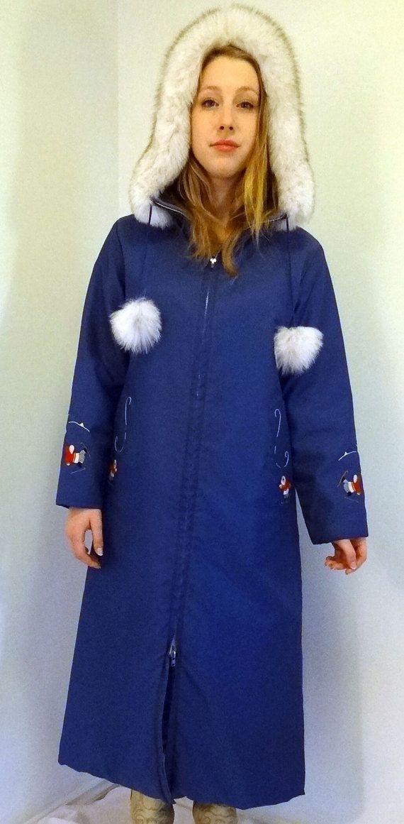 Vtg Hudson Bay Style Eskimo Parka Fox Fur Trim Jacket Coat Handmade Canada Sm
